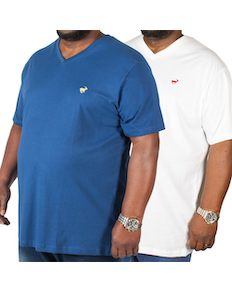 Bigdude Signature V-Neck T-Shirt Twin Pack Navy/White