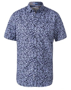 D555 Walpack Hawaiian Print Short Sleeve Shirt Blue