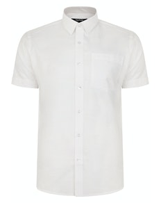 Bigdude Short Sleeve Linen Woven Shirt White