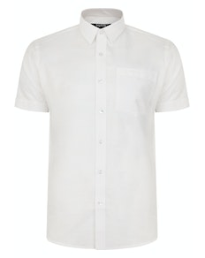 Bigdude Short Sleeve Linen Woven Shirt White Tall