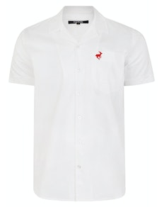Bigdude Relaxed Collar Short Sleeve Shirt White Tall