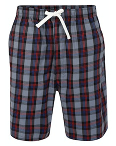 Bigdude Woven Check Pyjama Shorts Grey/Red